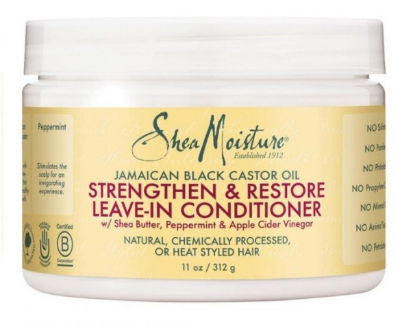 Shea Moisture Jamaican Black Castor Oil Strengthen & Restore Leave-In Conditioner Shea Butter, Peppermint & Apple Cider Vinegar 312g/11oz.